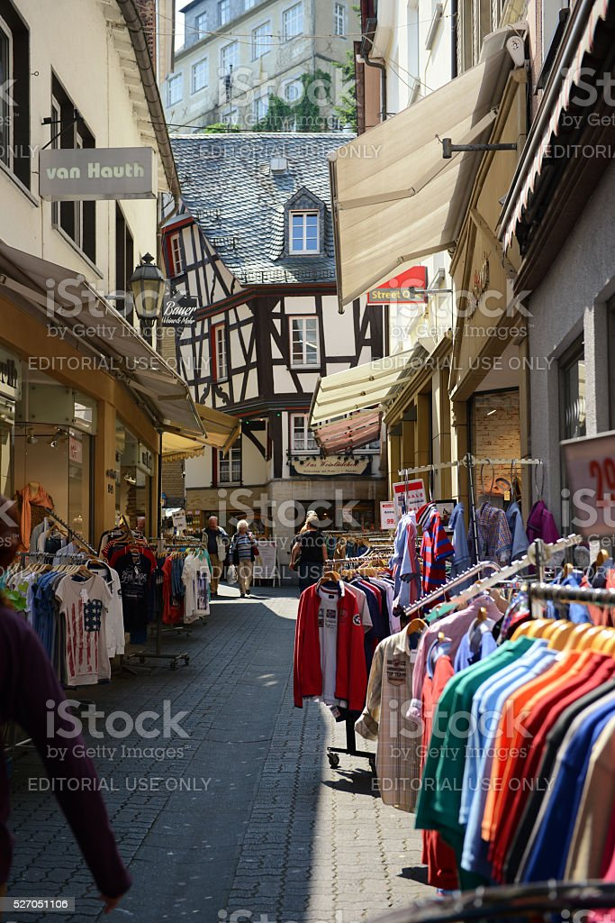 Cityscape of Cochem with stores and half-timbered houses stock photo