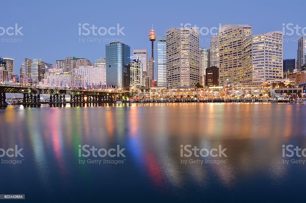 Cityscape of Darling Harbour at dusk Sydney Australia stock photo
