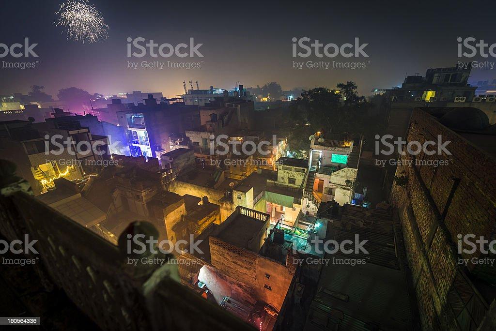 Cityscape of Deli during Diwali festiwal stock photo