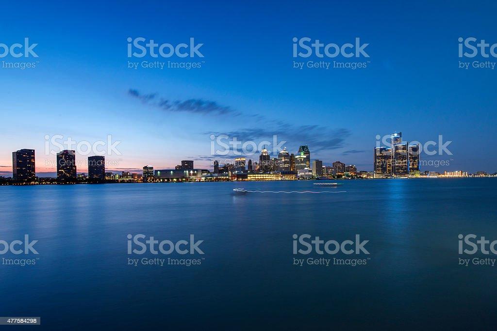 Cityscape of Detroit at sunset stock photo