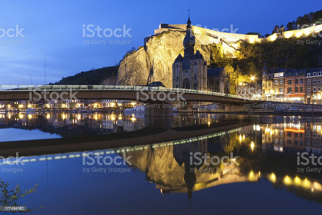 Cityscape of Dinant at the river Meuse, Belgium stock photo