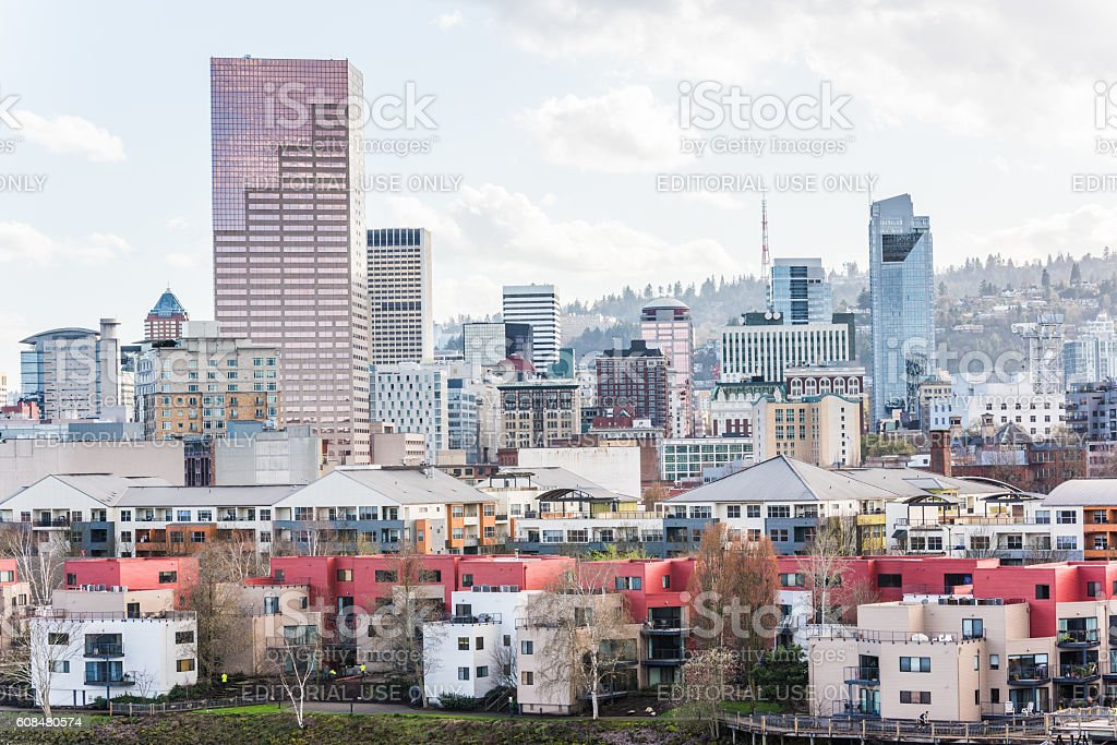 Cityscape of downtown Portland during overcast weather stock photo