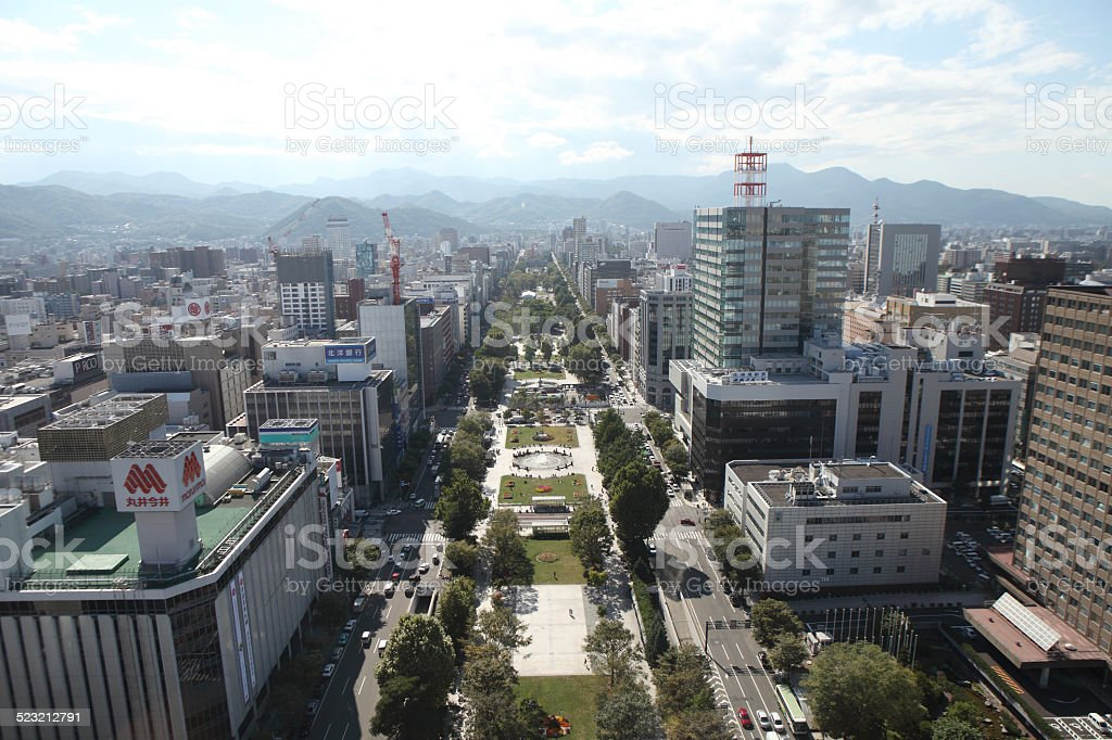 Cityscape of Downtown Sapporo , Japan stock photo