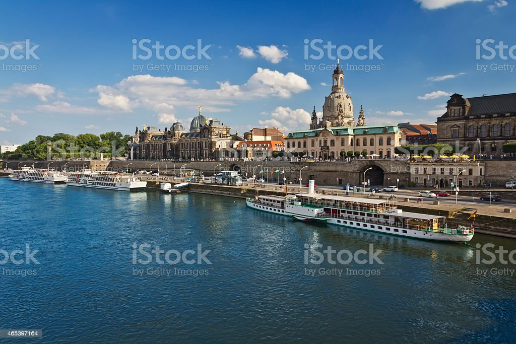 Cityscape of Dresden with Elbe river, Germany stock photo