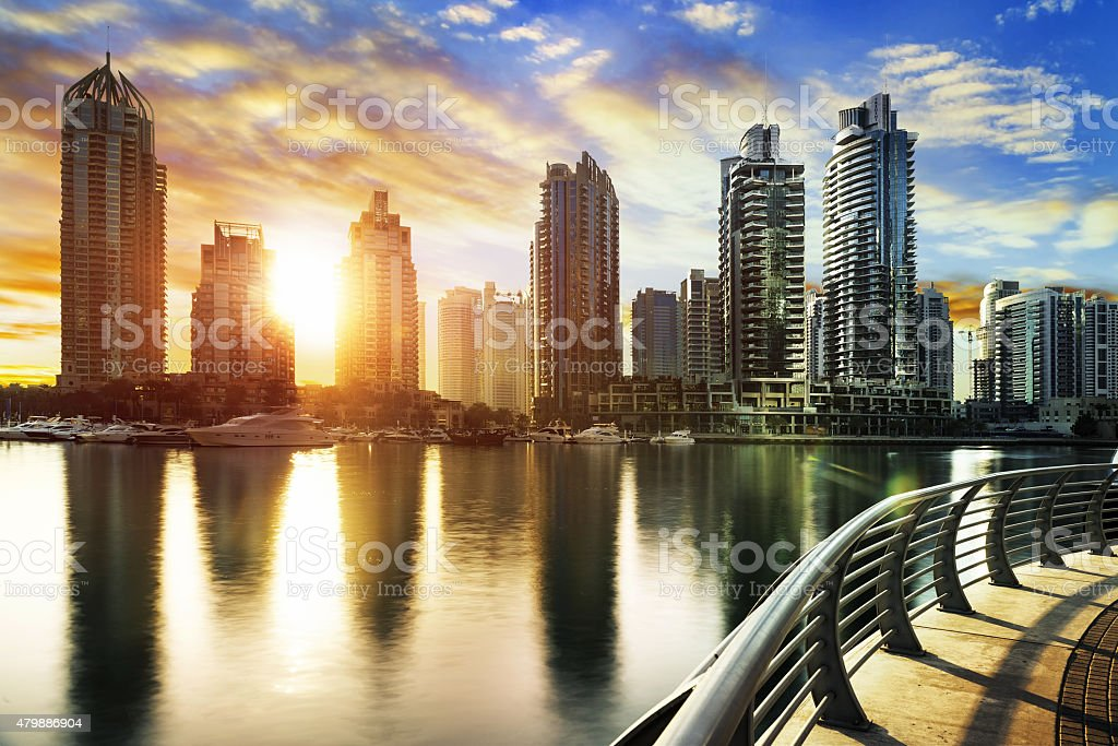 Cityscape of Dubai at night, United Arab Emirates stock photo