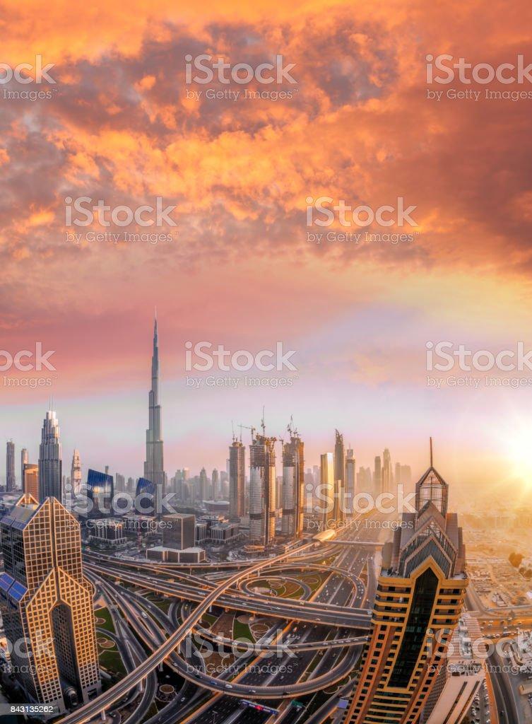 Cityscape of Dubai with modern futuristic architecture , United Arab Emirates stock photo