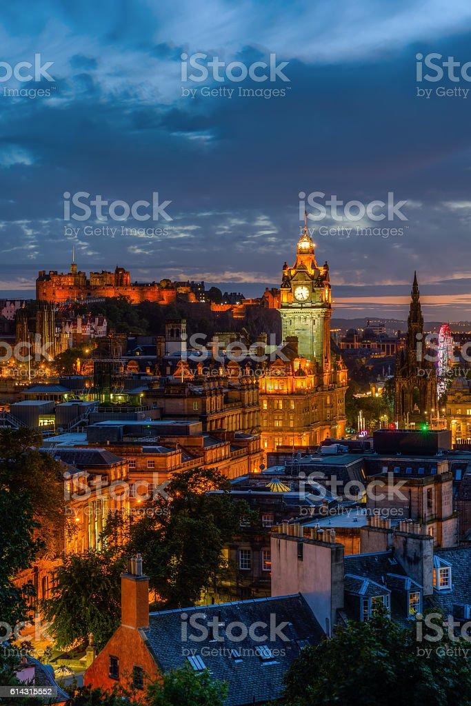 cityscape of Edinburgh, Scotland, at night stock photo