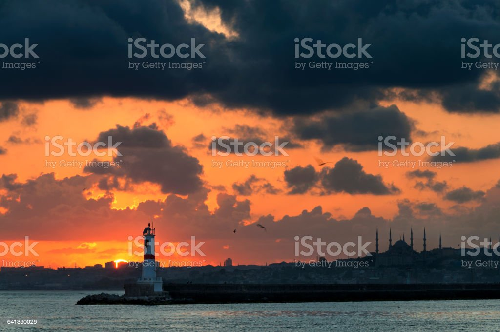 Cityscape of European Istanbul stock photo