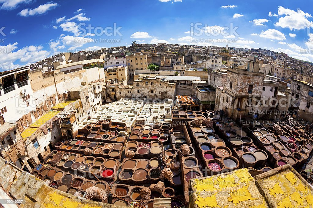 Cityscape of Fes with Leather Tannery,Morocco, Africa stock photo