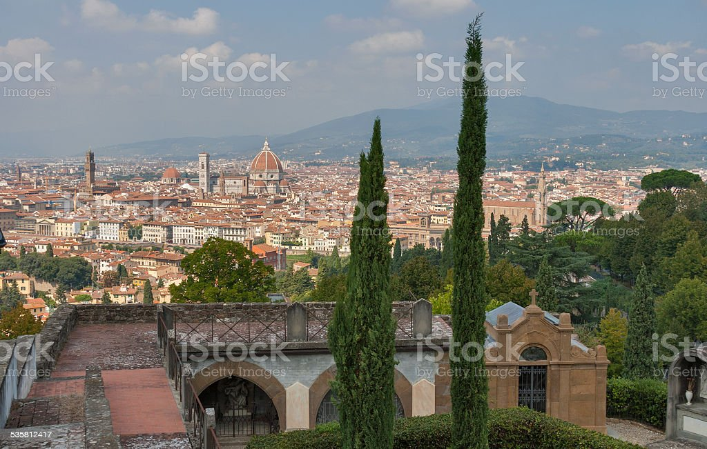 Cityscape of Florence from cemetery delle Porte Sante stock photo