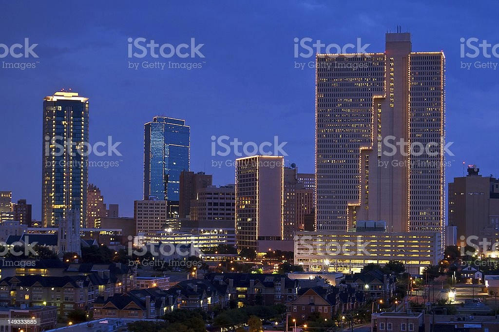 Cityscape of Fort Worth Texas at night stock photo