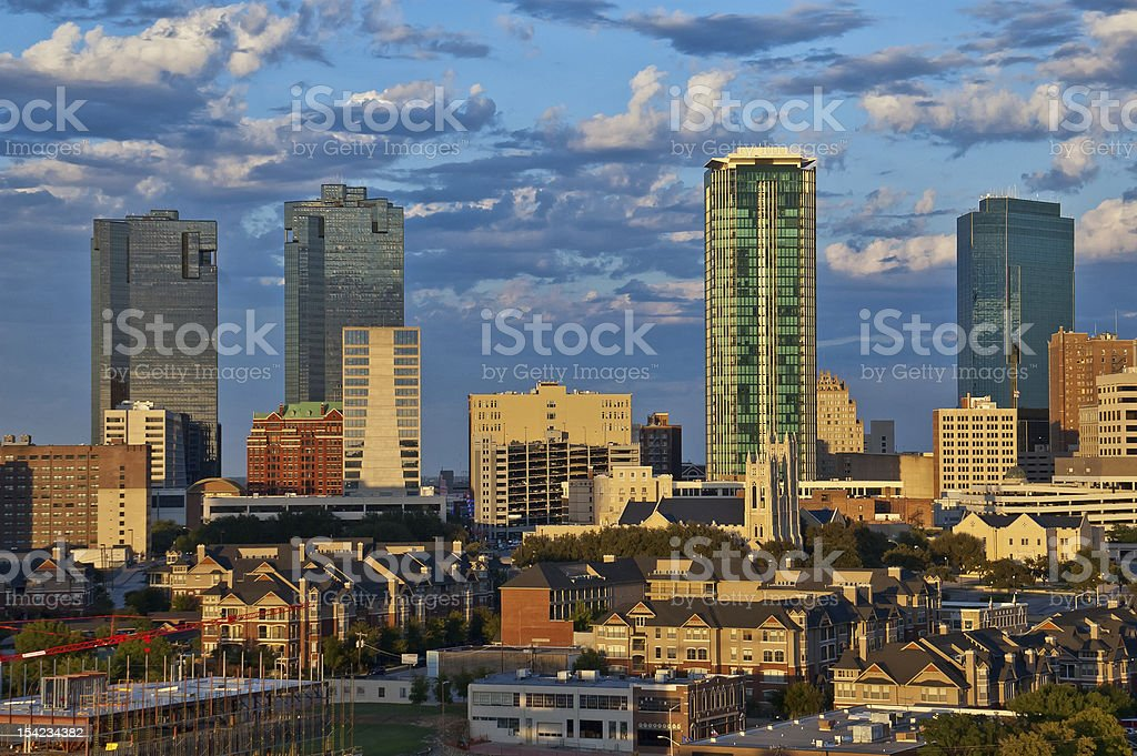 Cityscape of Fort Worth Texas stock photo