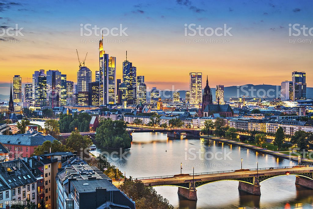 A cityscape of Frankfurt, Germany stock photo