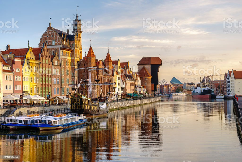Cityscape of Gdansk in Poland stock photo