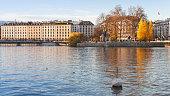 Cityscape of Geneva, Rousseau island