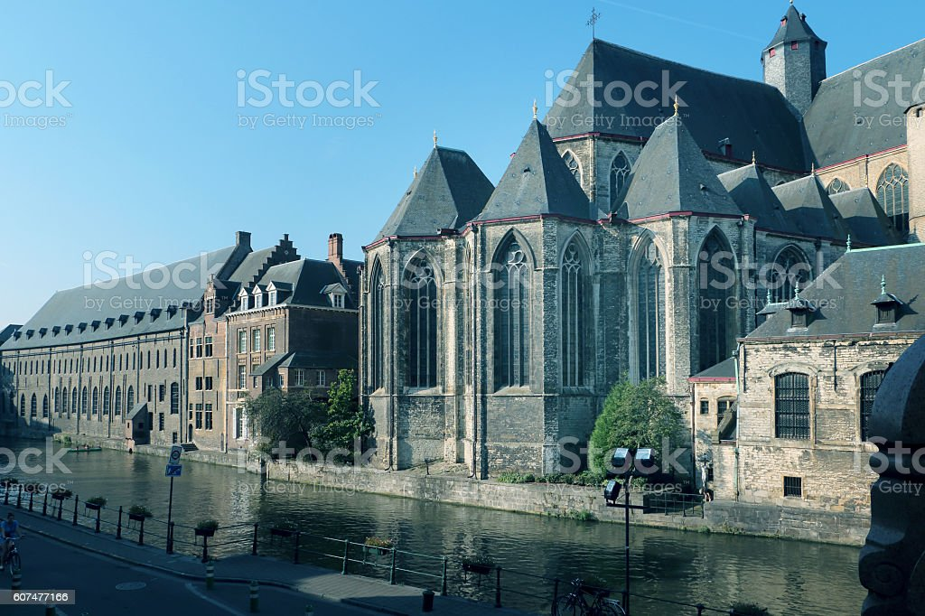 Cityscape of Ghent  ancient  medieval buildings on the channel stock photo