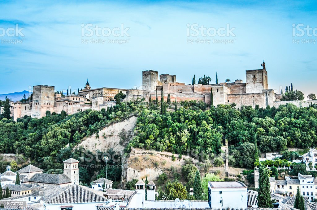 Cityscape of Granada, Spain during sunset stock photo