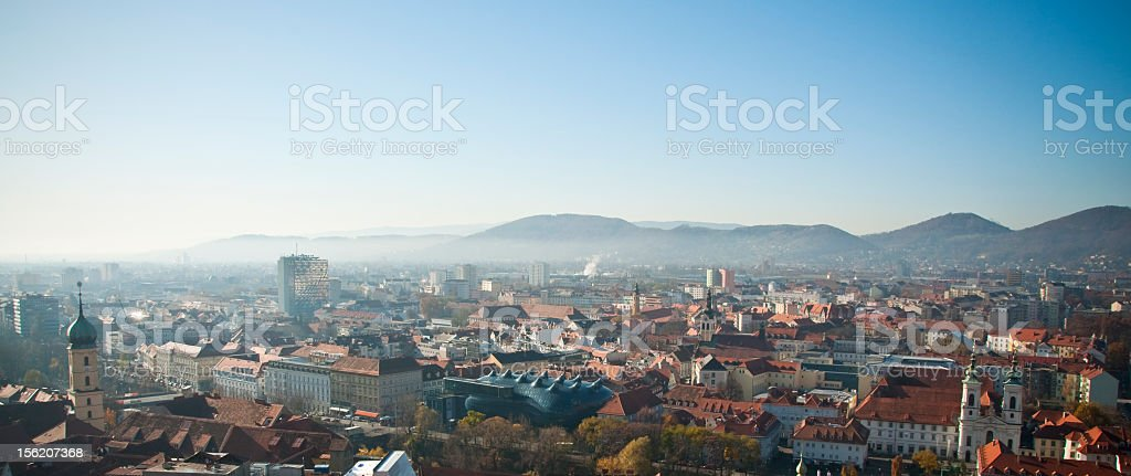 Cityscape of Graz with mountains in the background stock photo