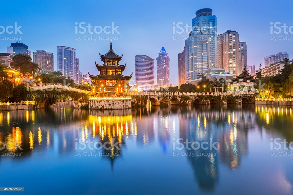Cityscape of Guiyang at night stock photo