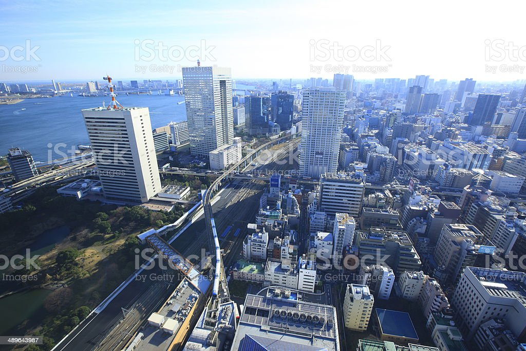 Cityscape of Hamamatsucho to Shibaura direction stock photo