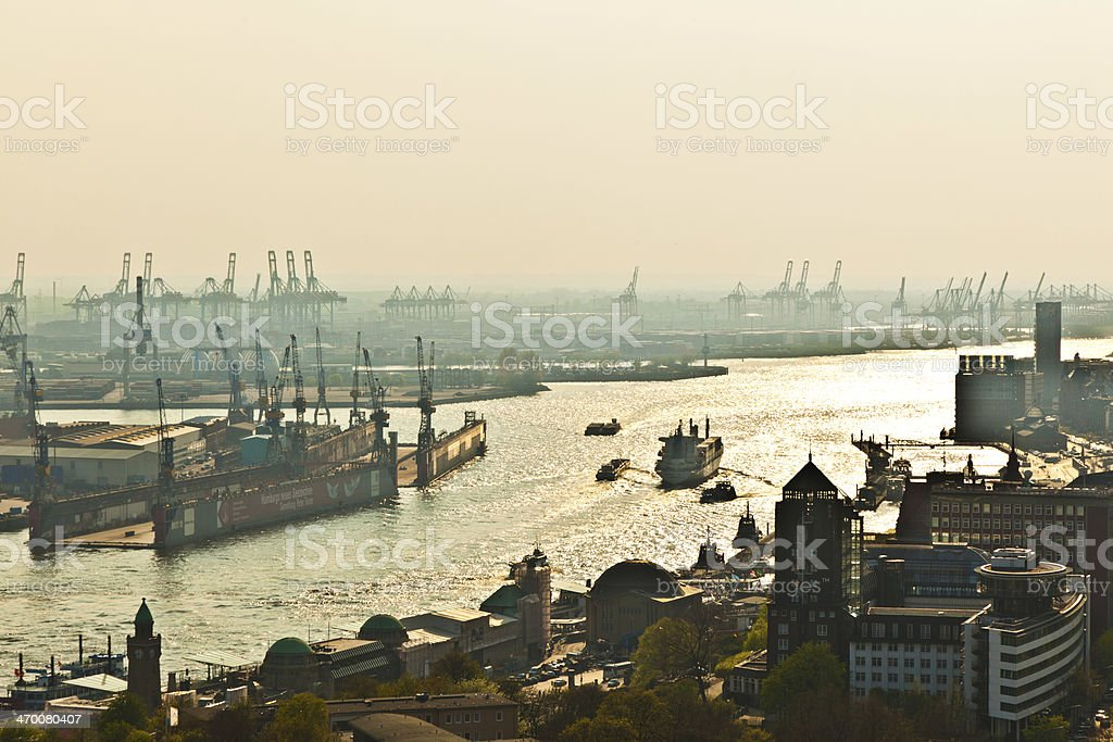 cityscape of Hamburg from the famous tower Michaelis stock photo