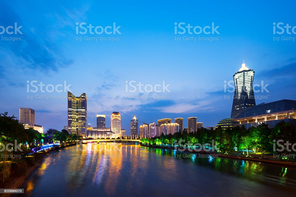 cityscape of hangzhou with modern office building stock photo