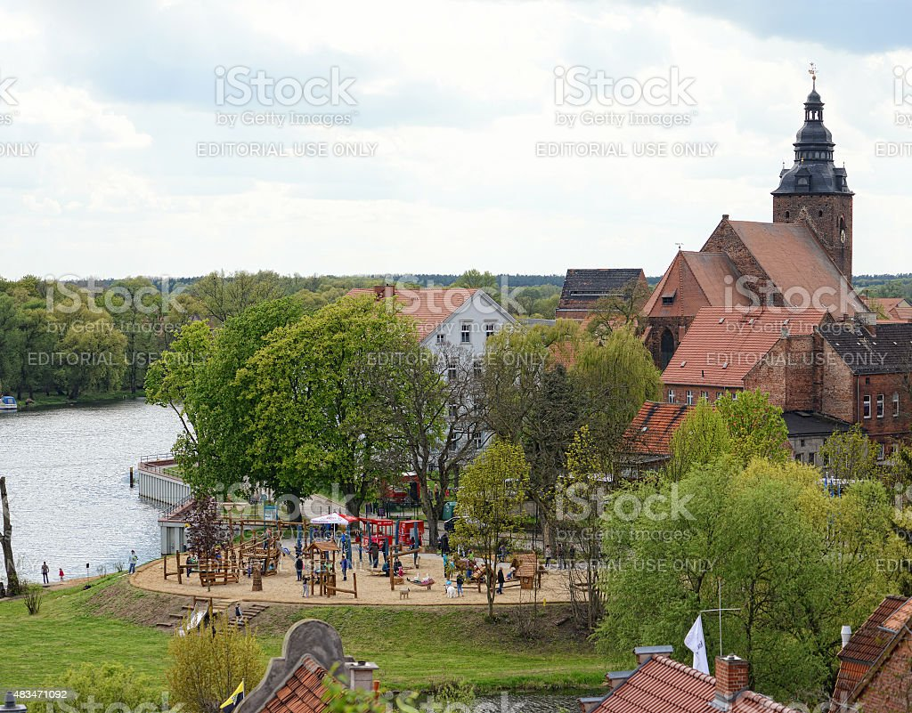 Cityscape of Havelberg with Havel River. In background the churc stock photo
