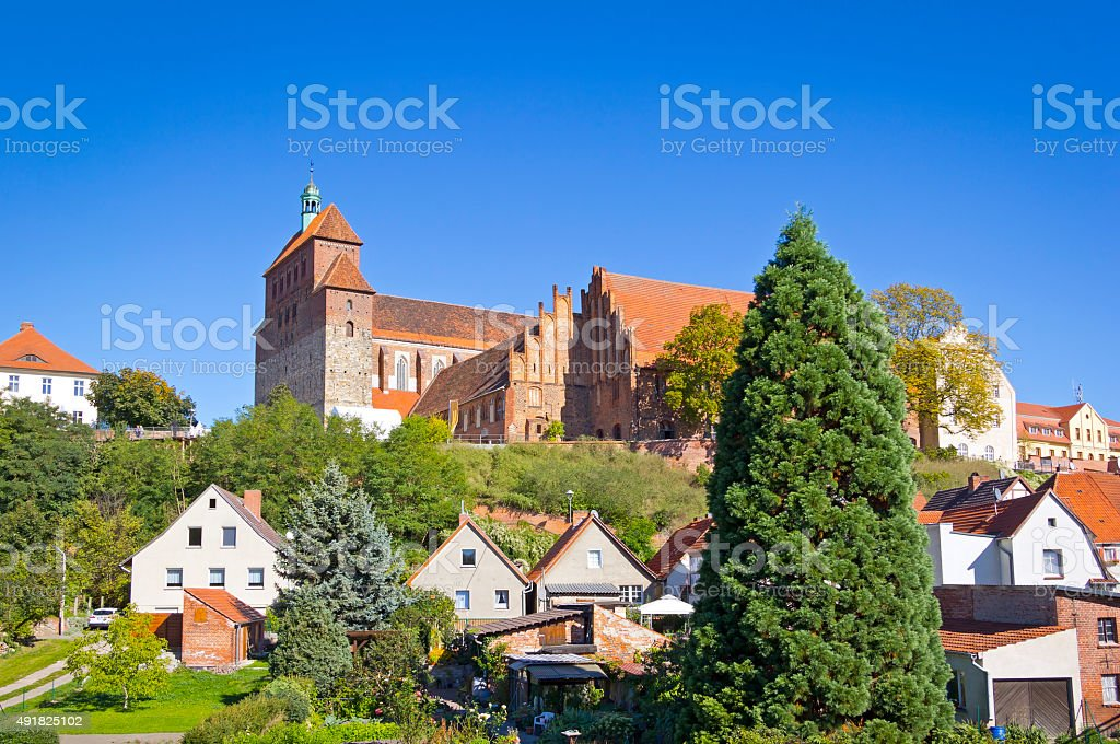 Cityscape of Havelberg with Havel River. stock photo