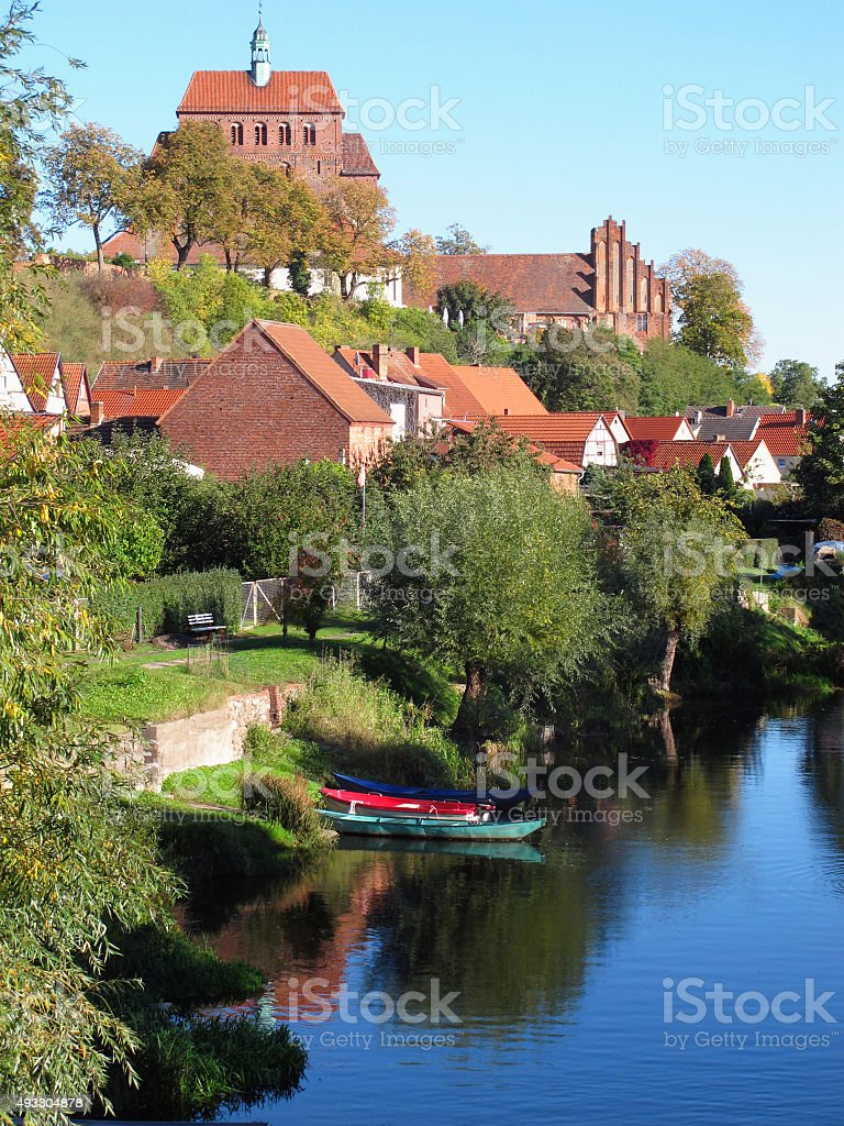 Cityscape of Havelberg (Germany, Saxony-Anhalt) with Havel River stock photo
