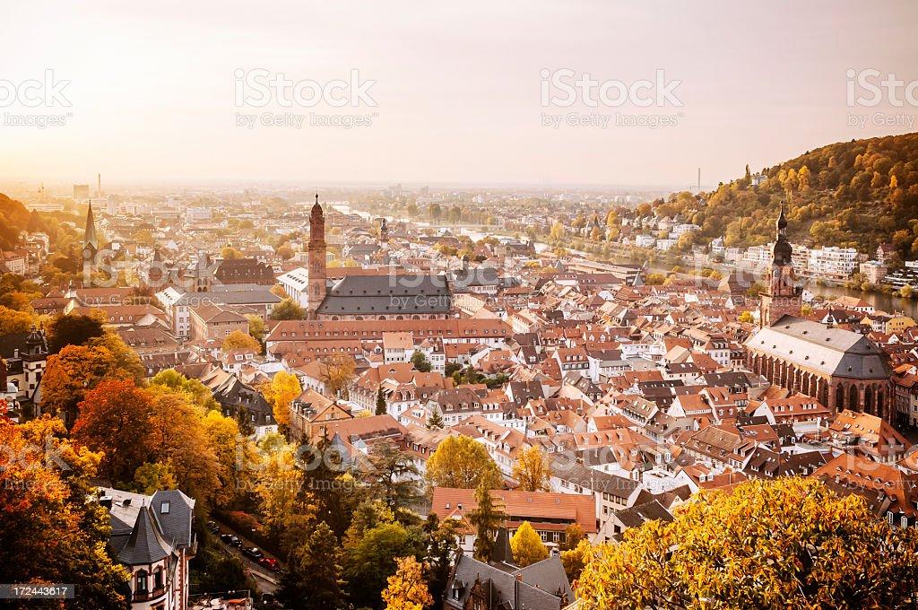 Cityscape of Heidelberg at sunset stock photo