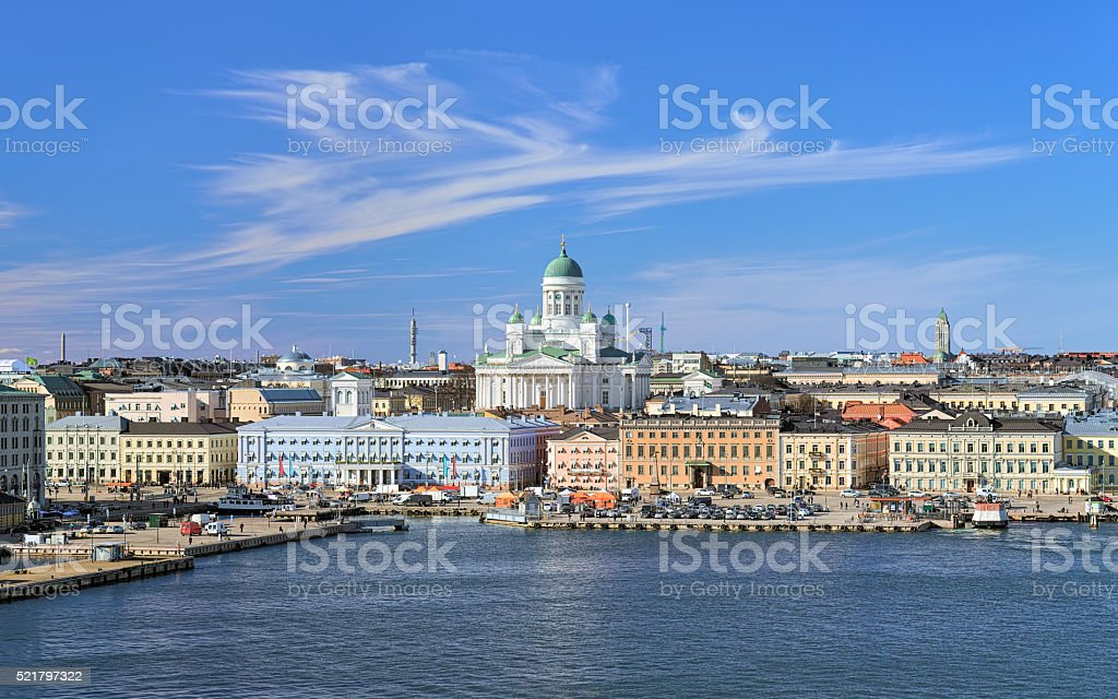 Cityscape of Helsinki with Cathedral, South Harbor and Market Square stock photo