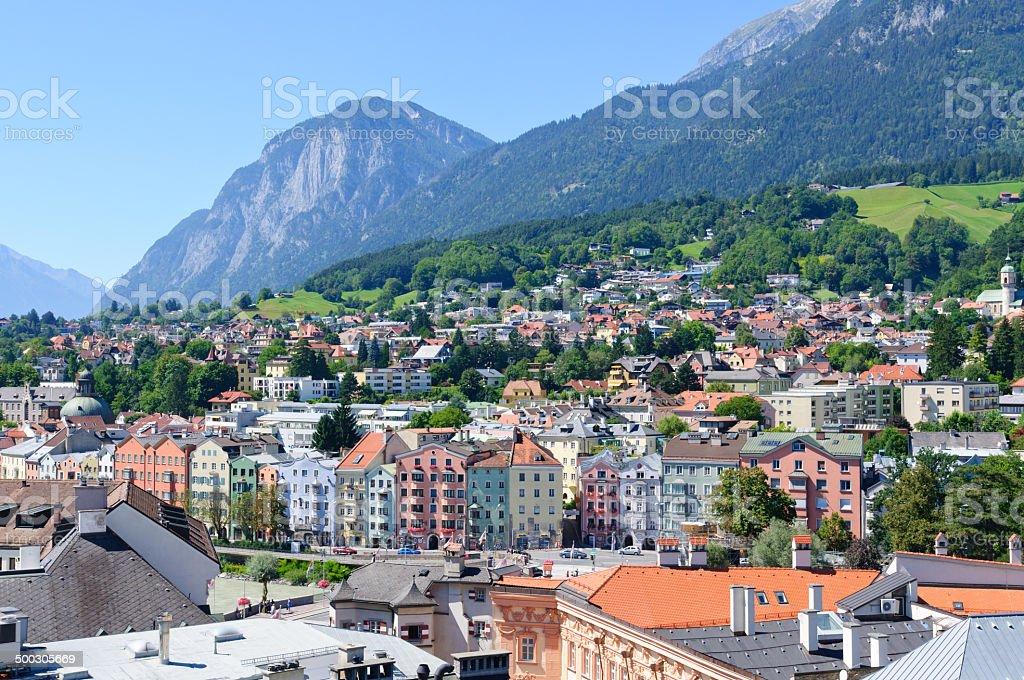 Cityscape of Innsbruck in Austria stock photo