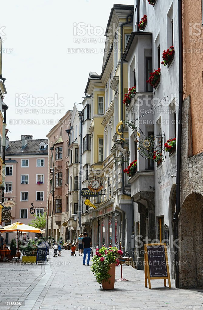 Cityscape of Innsbruck old Town district (Austria) royalty-free stock photo