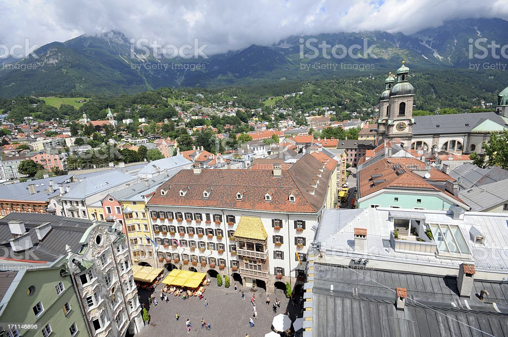 Cityscape of Innsbruck with Golden Roof (Austrian) stock photo