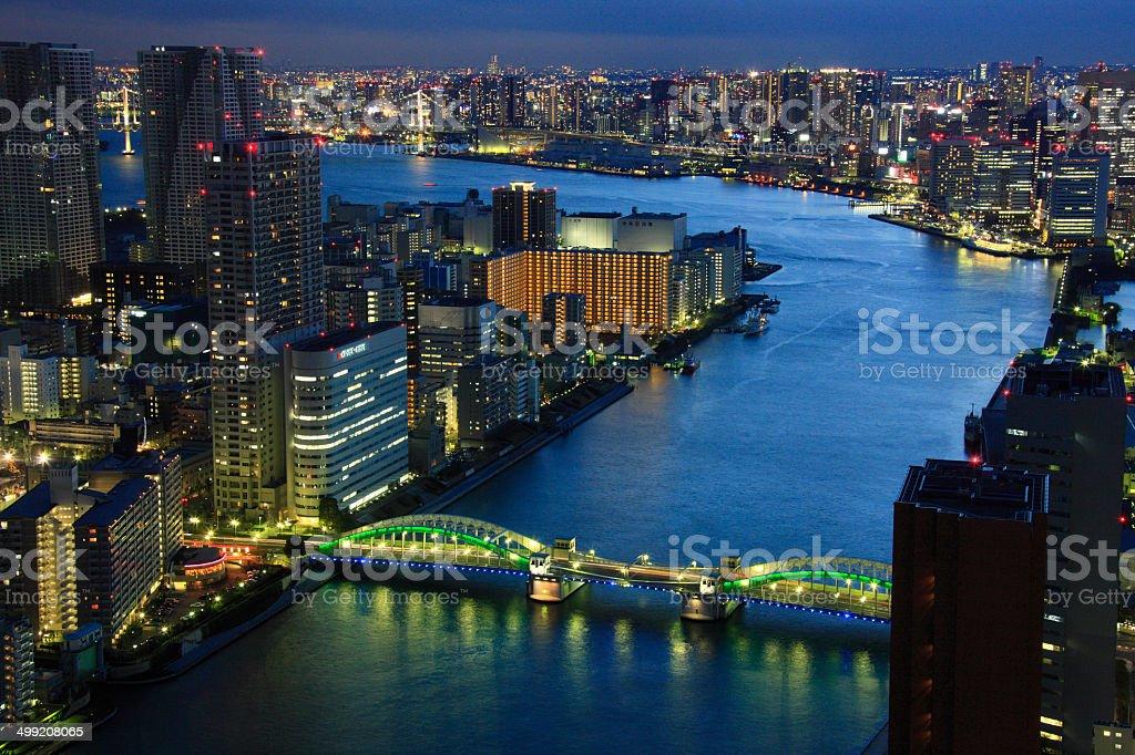Cityscape of Kachidoki and Tokyo Port Night View stock photo