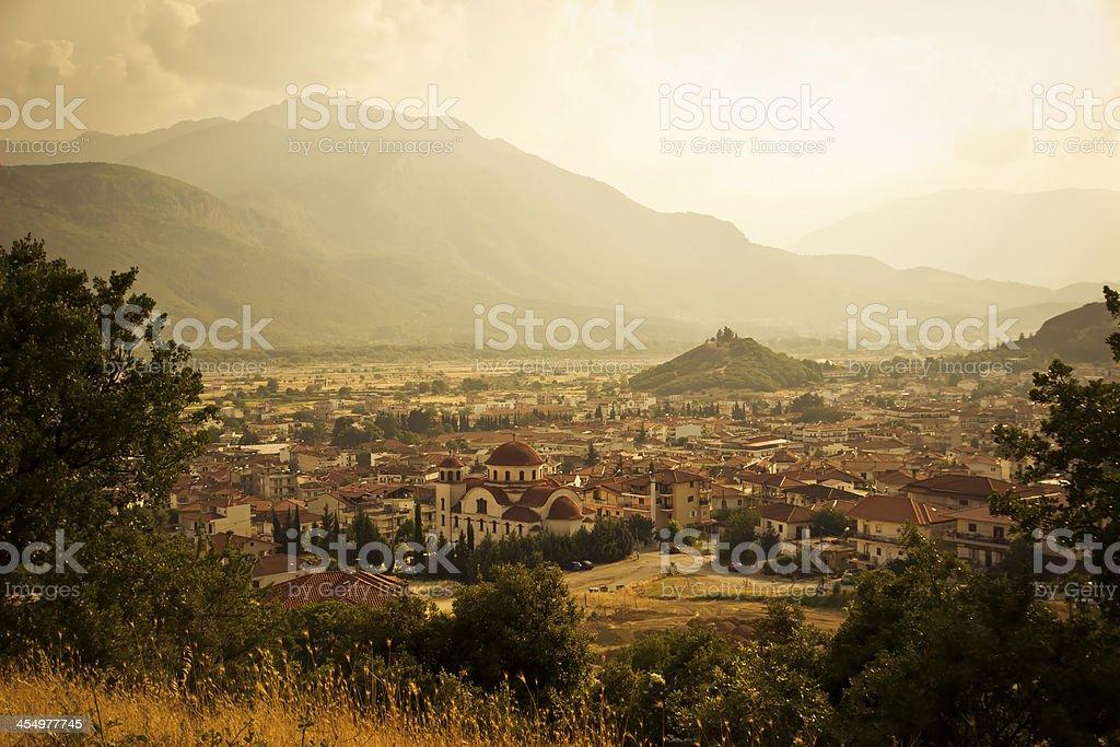 Cityscape of Kalambaka. Retro style toned photo stock photo