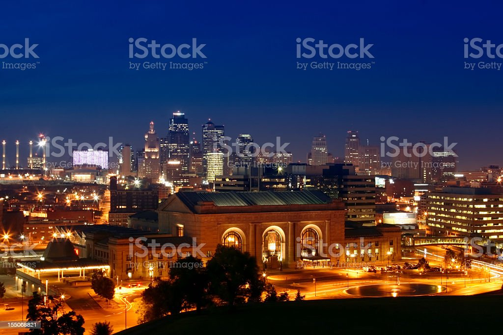Cityscape of Kansas City illuminated at night stock photo