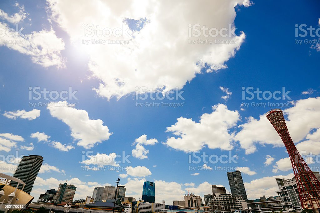 Cityscape of Kobe, Japan, from harbour stock photo