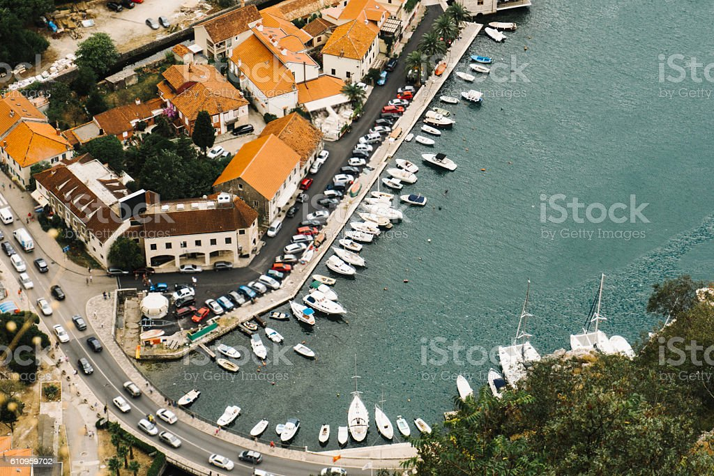 Cityscape of Kotor aerial view stock photo