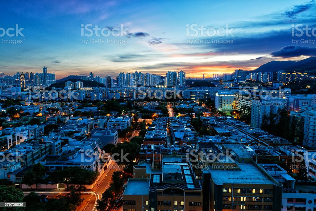 Cityscape of Kowloon Tong, Hong Kong stock photo