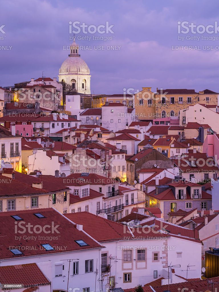 Cityscape of Lisbon, Portugal, seen from Portas do Sol stock photo