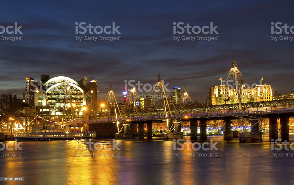 Cityscape of London at Hungerford Bridge stock photo