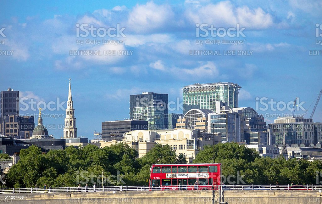 Cityscape of London in late afternoon light from Hungerford Bridge. stock photo
