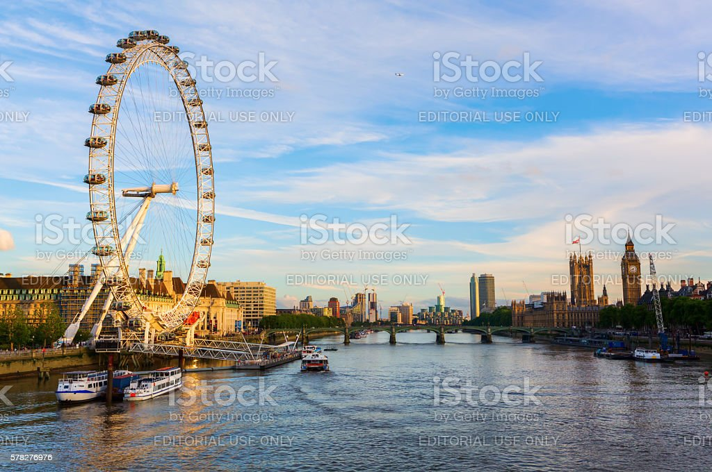 cityscape of London, UK, with the famous London Eye stock photo
