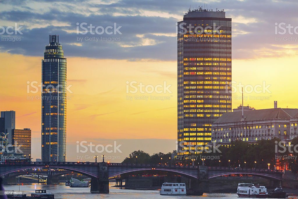 Cityscape of London with Lambeth Bridge and skyscrapers. stock photo