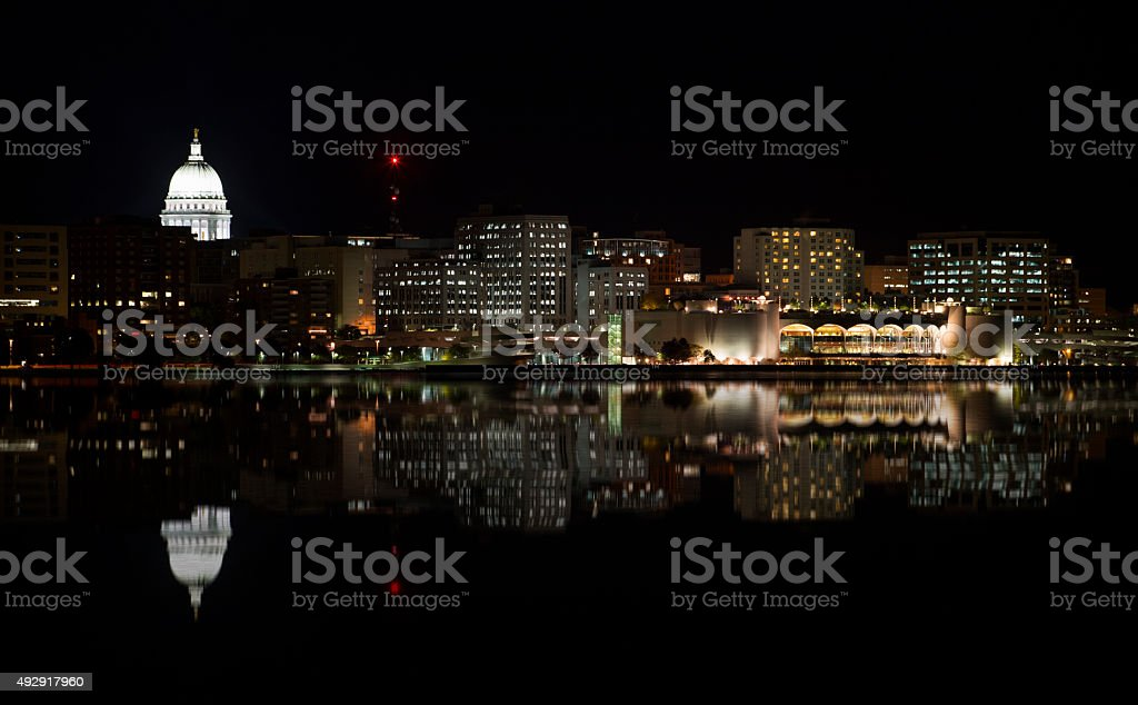 Cityscape of Madison at Night stock photo