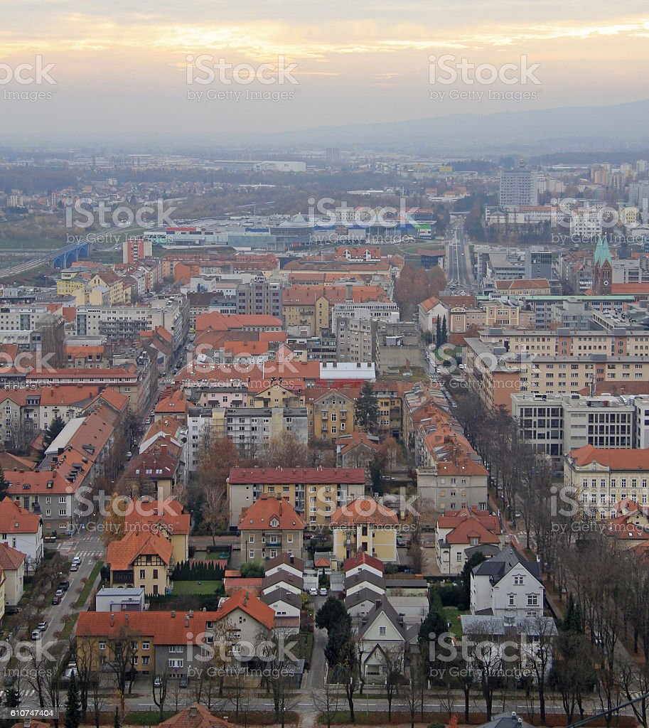 cityscape of Maribor, view from Piramida hill stock photo