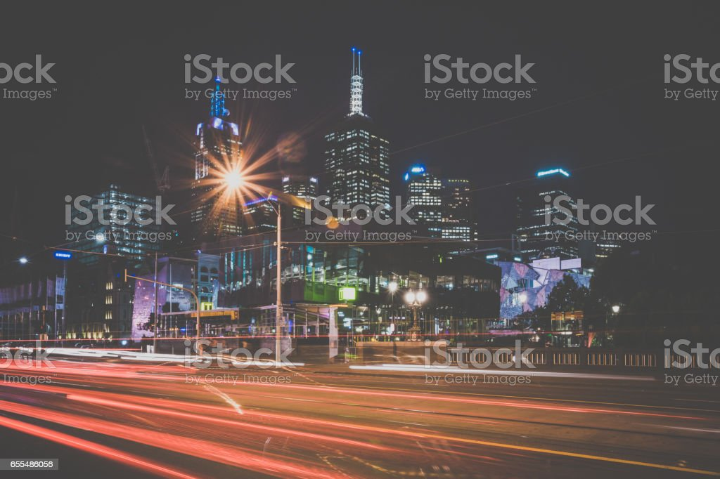 Cityscape of Melbourne at Sunset, Australia stock photo