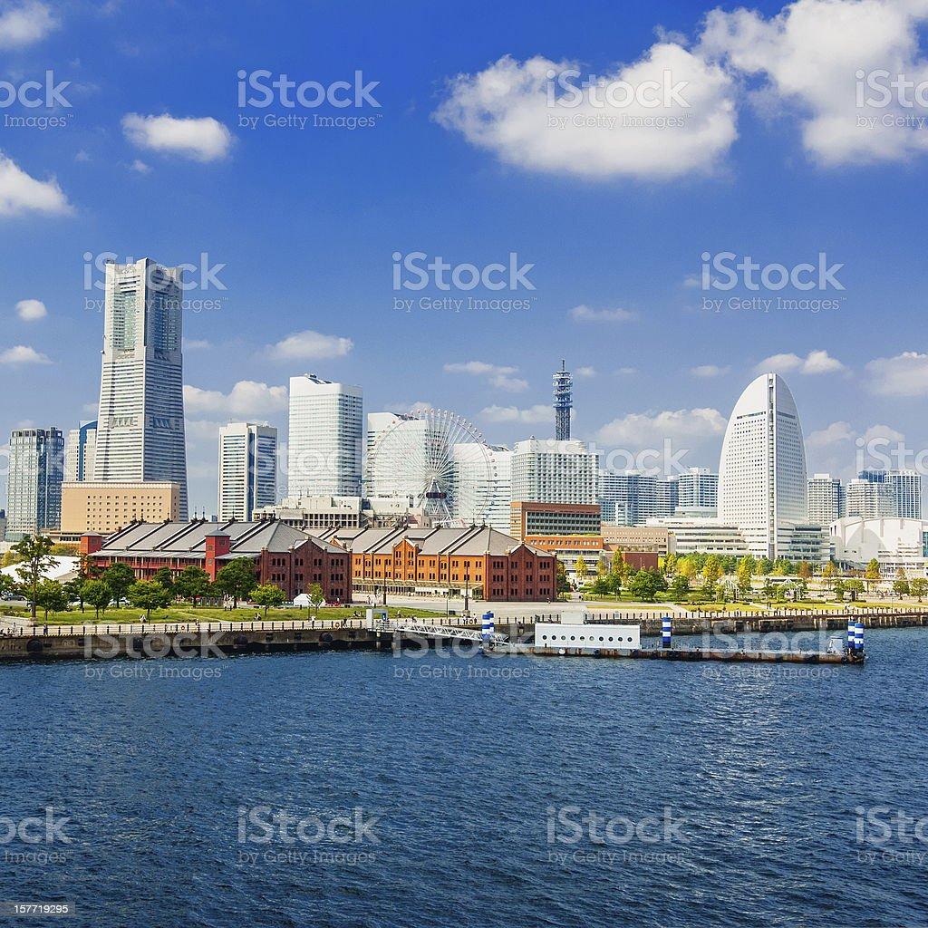 Cityscape of Minato Mirai 21 district in Yokohama, Japan stock photo