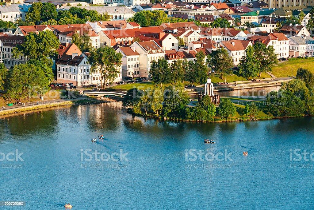Cityscape of Minsk, Belarus. Trojeckaje Pradmiescie stock photo